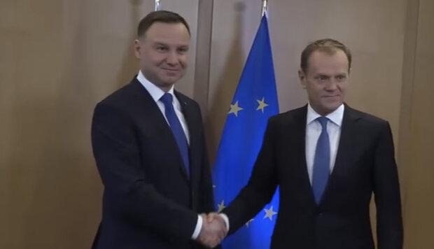 Prezydent Andrzej Duda, Donald Tusk. Źródło: youtube.com