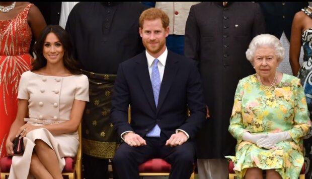 Meghan Markle, książę Harry i Królowa Elżbieta II/YouTube @Dla Ciekawskich